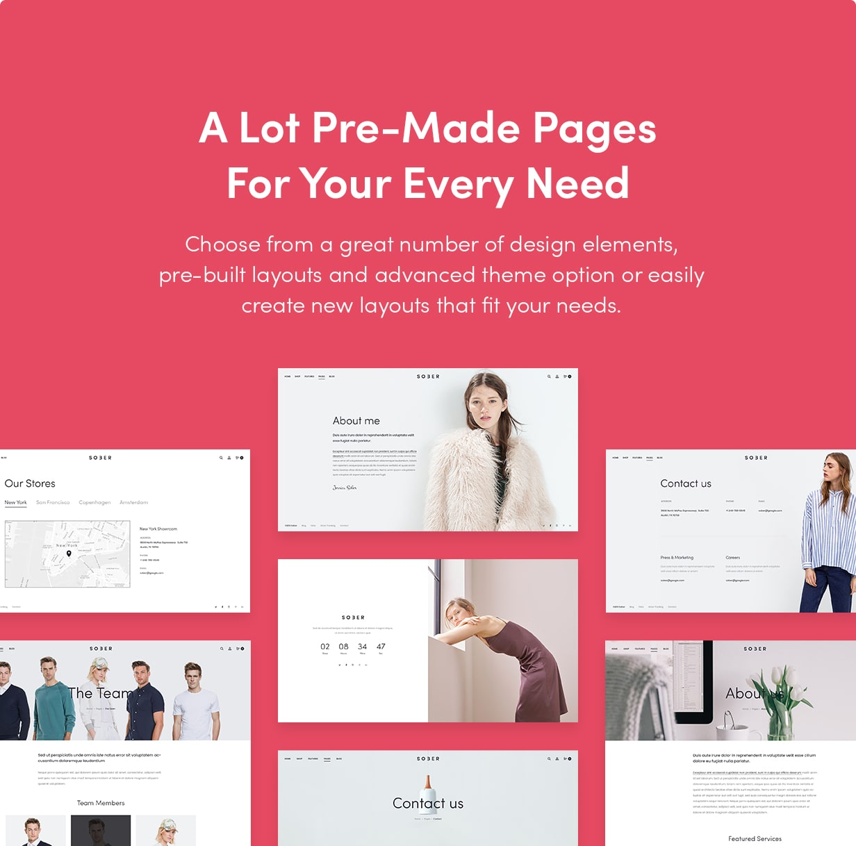Sober WordPress theme with pre-made pages
